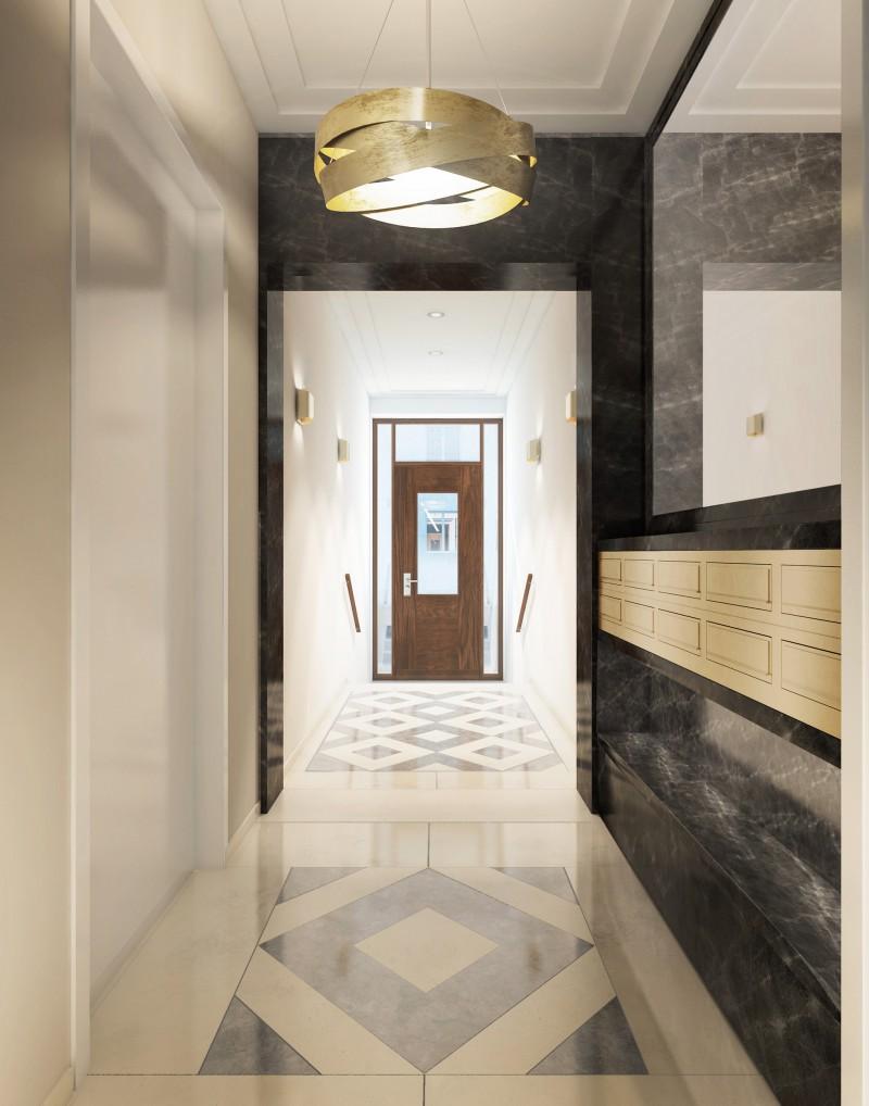 Design und Ausführungsqualität in der Schwindstraße 15 werden höchsten Ansprüchen gerecht. Ein modern gestalteter italienischer Naturstein-Teppich führt zum Aufzug.