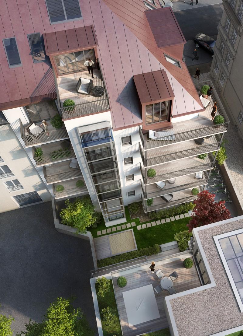 Highlights der Schwindstraße 15 sind die neu errichtete zweigeschossige Dachterrassen-Wohnung und das eigenständige, dreigeschossige Stadthaus.  Dazu kommen 8 attraktive 2-3 Zimmerwohnungen.