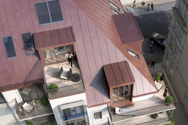 Über den Dächern der Maxvorstadt: Die Dachterrassen-Wohnung verfügt - auf zwei Dachgeschosse verteilt - über 4 Balkone, 1 Dachterrasse und 3 Luxusbäder