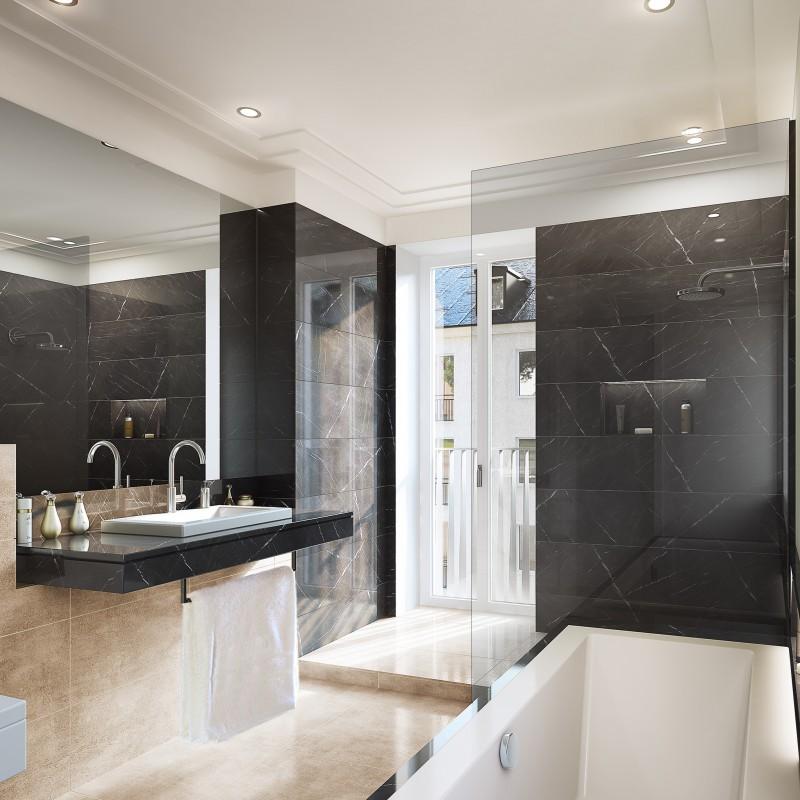 Bäder und Sanitärbereiche entsprechen dem hohen Design- und Qualitätsstandard. Alle Wohnungen zeichnen sich durch eine hohe Wertigkeit, eine harmonische Materialauswahl und eine überdurchschnittliche Bau- und Ausstattungsqualität aus.